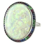 Opal Ring with Emeralds, Sapphires and Diamonds