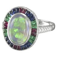 Opal Ring with Sapphires, Rubies and Emeralds