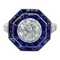 Platinum Sapphire with Round Diamond ring