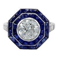 Platinum Sapphire with Round Diamond ring