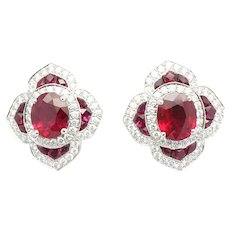 Platinum ruby earring