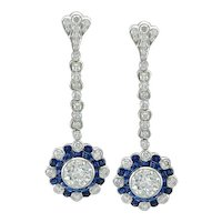 platinum sapphire diamond earring
