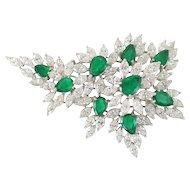 Diamond & Emerald Spry Brooch