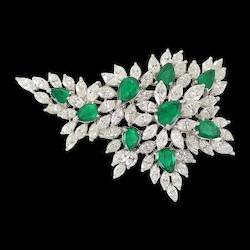 Diamond & Emerald Spry Brooch