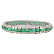 Diamond & Emerald 'Railroad' Bracelet