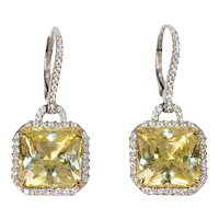Yellow Sapphire & Diamond Earrings by Caroline Nelson