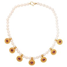 REINSTEIN-ROSS Cultured Pearl Ruby Gold Necklace