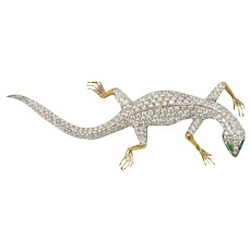 Gekko 18 Karat White gold, Yellow gold & Diamond Brooch Lizard by Garavelli