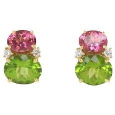 Pink Tourmaline & Peridot Twin Stone Earrings by Caroline Nelson