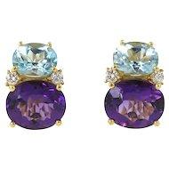 Small Twin Stone Earrings Amethyst and Blue Topaz Caroline Nelson