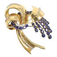 Sapphire & Diamond Brooch