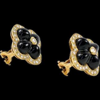 18 Karat Yellow Gold Black Onyx and Diamond Flower Earrings