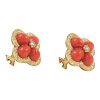 18K Yellow Gold Coral & Diamond Flower Earrings CAROLINE NELSON
