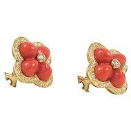 18K Yellow Gold Coral & Diamond Flower Earrings CAROLINE NELSON