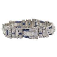 Art Deco Diamond & Sapphire Bracelet