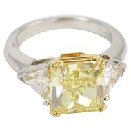 Fancy Intense Yellow Diamond Solitaire Square Radiant Cut Diamond 4.01 carats
