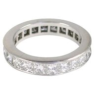 Platinum Princess Cut Diamond Band Ring 3.58 carats