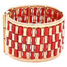 """Unique """"Bugle Bead"""" Coral & Gold Bracelet"""