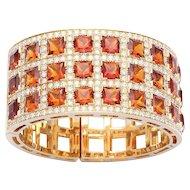 Unique 18k Yellow Gold Diamond and Citrine Bracelet 46.10 carats