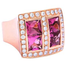 Rose Gold and Pink Tourmaline Ring