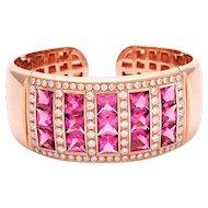Rose Gold and Pink Tourmaline, Diamond Bracelet