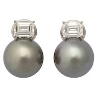 Tahitian Cultured Pearl 18 Karat White Gold Earrings with Emerald Cut Diamonds by Caroline Nelson