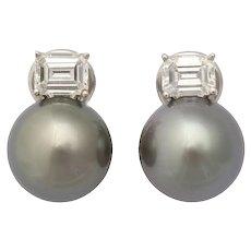 Tahitian Cultured Pearl 18 Karat White Gold Earrings with Emerald Cut Diamonds by Caroline Nelson