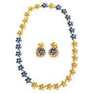 Blue Enamel & Diamond Necklace & Earclips