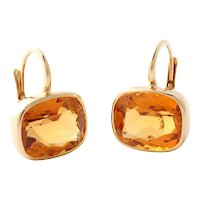 18 Karat Yellow Gold Bezel Set Citrine Earrings on French Wires