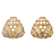 Gold & Diamond Tri-Corner Earrings