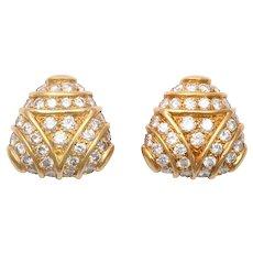 Gold & Diamond Tri-Corner Earrings