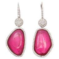 Pink Asymmetrical Tourmaline Earrings