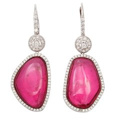 Pink Asymmetrical Tourmaline Earrings