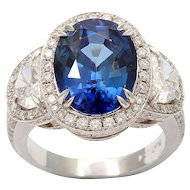 Diamond Sapphire Platinum Cluster Ring Three Stone