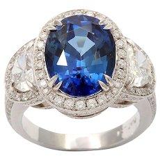 Diamond Sapphire Platinum Cluster Ring Three Stone