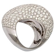 VERGANO Pave Diamond and White Gold Abstract Design Ring