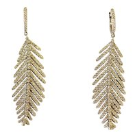 Flexible Diamond Feather Earrings