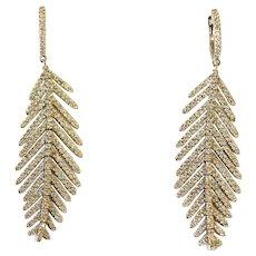 Flexible Diamond Feather Earrings