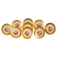 Set of 12 Hand Painted Cabinet/Dessert Plates