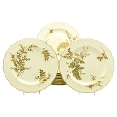 12 Tiffany 19th C. Aesthetic Movement Ivory & Raised Gold Fern Plates