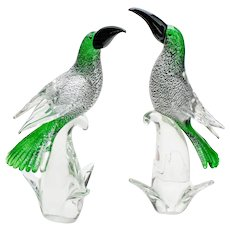 Pair of Green Venetian/Murano Barbini Exotic Bird Sculptures