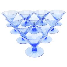 Set of 10 Fry French Blue Art Deco Dessert Coupes