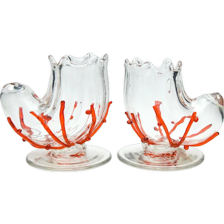 Pair of Loetz Shell Vases with Applied Coral