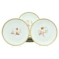 Set of 9 Mintons 19th C. Hand Painted Dessert Plates With Nymphs Bouillemier ca. 1881
