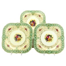 Set of 12 Royal Worcester Square Botanical Dessert Plates with Green