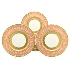Set of 12 Pink & Raised Paste Gold Lenox Dinner Plates