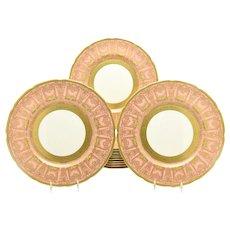 Set of 12 Pink & Raised Paste Gold Lenox Dinner Plates