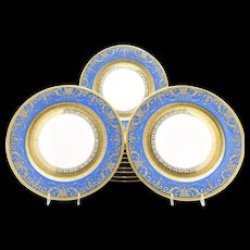 Set of 12 Limoges Periwinkle Blue & Raised Paste Gold Dinner Plates JE Caldwell