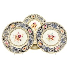 Set of 12 Royal Doulton Artist Signed Dinner Plates W/ Cobalt & Gold Floral
