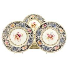 Set of 12 Royal Doulton Artist Signed Dinner Plates W/ Cobalt & Gold Floral